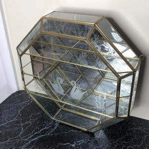 Etched glass mirrored curio cabinet case